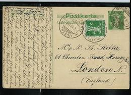 CP - Michel / P 38  Obl. Biel (Bienne) Du 28/06/1909 Pour London (GB) - Entiers Postaux