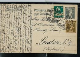 CP - Michel / P 56. I   Obl. Bern  14/02/1929 Pour London (GB) - Entiers Postaux