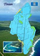 Northern Mariana Islands Tinian Island Map New Postcard - Northern Mariana Islands