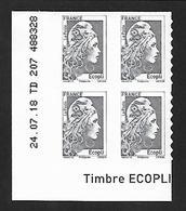 COIN DATE YSEULT YZ - L'ENGAGEE - ADHESIFS - ECOPLI - BLOC DE 4 - DATE : 24 07 18 - NEUF - TTB - 2010-....
