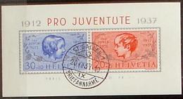 Schweiz Suisse Pro Juventute 1937: Zu 83I+84I Mi Block 3 Yv BF 3 Mit ET-o ST.GALLEN 20.XII.37 (SBK CHF 120.00) - Bloques & Hojas