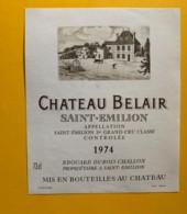9882 - Château  Belair 1974 Saint-Emilion - Bordeaux