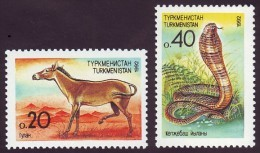 TURKMENISTAN. 1992. FAUNA: KULAN And COBRA. Set Of 2 Stamps. Mi-Nr. 2-3. MNH (**) - Turkménistan