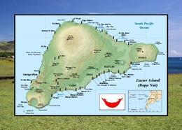 Rapa Nui UNESCO Easter Island Map New Postcard - Rapa Nui