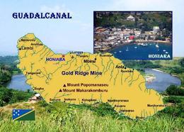 Solomon Islands Guadalcanal Island Map New Postcard Salomonen AK - Salomoninseln
