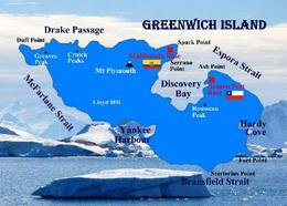 Antarctica Greenwich Island Map New Postcard - Ansichtskarten