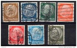 GERMANY 1933 Hindenburg (Wmk Mesh) 7 Values Used - Germany