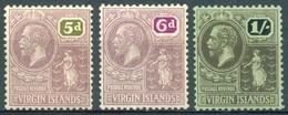 Iles Vierges - 1922/1928 - Yt 58/60 - Série Courante - * Charnière - Iles Vièrges Britanniques