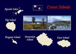Crozet Islands Map New Postcard - TAAF : Franse Zuidpoolgewesten