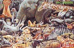 Télécarte Japon * GIRAFE (693) GIRAFFE * ELEPHANT *  PHONECARD JAPAN * TK * ANIMALS * TIERE - Telefoonkaarten