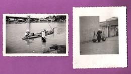 LOT - 2 PHOTOGRAPHIES -  INDOCHINE - PORTEUSE D EAU / 1947 - Lieux