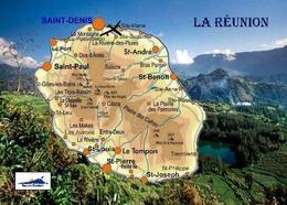 Reunion Island Map New Postcard - La Réunion