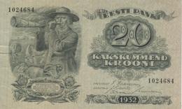 (B0139) ESTONIA, 1932. 20 Krooni. P-64a. VF - Estonie