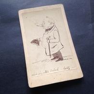 HUMOR - ZEICHNUNG - NOBLER HERR MIT ZIGARETTE, STOCK UND HUT - WIDMUNG - 1878 - Foto