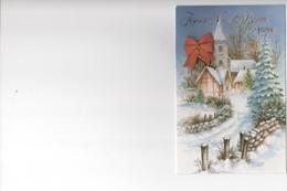 JOYEUX NOEL ET BONNE ANNÉE - EGLISE DANS PAYSAGE DE NEIGE EN RELIEF AVEC NŒUD ROUGE  - CARTE COULEUR DOUBLE  - VOYAGEE - New Year