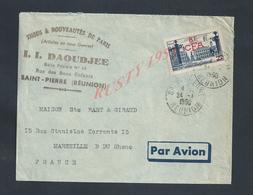 LETTRE COMMERCIALE DE 1950 II DAOUDJEE TISSUS SUR TIMBRE 8F CFA PAR AVION OB SAINT PIERRE RÉUNION : - Reunion Island (1852-1975)