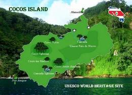 Costa Rica Cocos Island Map UNESCO New Postcard Kokos-Insel Landkarte AK - Costa Rica
