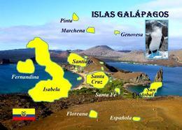 Galapagos Islands Map New Postcard Galapagosinseln Landkarte AK - Ecuador