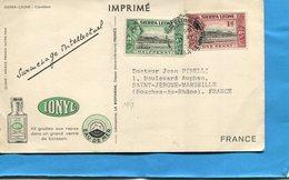 MARCOPHILIE -sierra Leone- -carte-CAMELEON-publicitaireI-ONYL-Cad 1953-Freetown-2 Stamps N° 158-9 - Sierra Leone (...-1960)