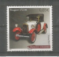 ANDORRA.  2017 .  Peugeot Type 172 Année 1926 , Timbre Neuf ** - Voitures