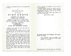 D 577. AIME CNOPS - LOKEREN 1895 / 1969 - Oudstrijder 14/18 -Vuurkruiser - Oorlogsvrijwilliger - Images Religieuses