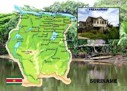 Suriname Map New Postcard - Surinam