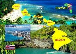 Hawaiian Islands Map New Postcard Hawaii Inseln Landkarte AK - Andere