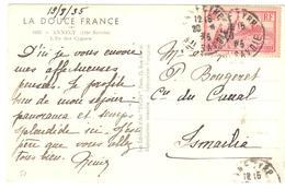 ANNECY RP Carte Postale Etranger 90c Puy En Velay Yv 290 Ob 20 8 1935  Dest ISMAILIA Canal De Suez Egypte - France