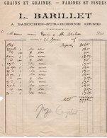 Facture - Grains . Graines. Farines. - L. BARILLET à BAZOCHES SUR HOESNE - Dép. 61 - 1905 - - Alimentaire
