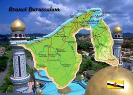 Brunei Country Map New Postcard Landkarte AK - Brunei