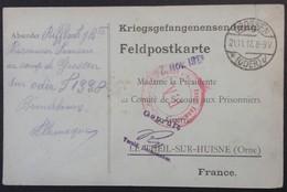 Carte De Franchise Militaire COMITE DE SECOURS PRISONNIER DE GUERRE De LE THEIL SUR HUISNE Envoi De COLIS Nov 1917 - Storia Postale