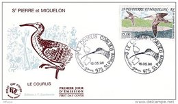 L4T336 SAINT PIERRE MIQUELON 1996 Triptyque FDC Le Courlis 15,00f  Saint-Pierre 15 05 1996 /envel.  Illus. - FDC