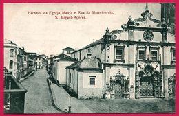 Fachada Da Egreja Matriz E Rua Da Misericordia - S. Miguel Açores - Eglise Et Rue Miséricorde - Cervejaria PEREIRA - Açores