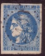 45B Emission De Bordeaux 20c Bleu - 1870 Bordeaux Printing