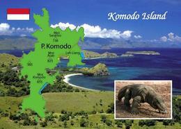 Indonesia Komodo Island Map UNESCO New Postcard Landkarte AK - Indonesien