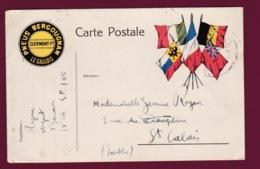 030219 - MILITARIA GUERRE 1914 18 FM Carte Pub Pneus Bergougnan Le Gaulois Clermont Ferrand Ill 5 Drapeaux SAINT CALAIS - Poststempel (Briefe)