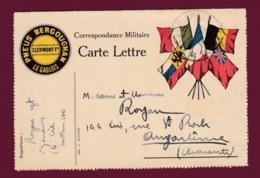 030219 - MILITARIA GUERRE 1914 18 FM Carte Lettre Pub PNEUS BERGOUGNAN Clermont Ferrand Zouave Illustration 5 Drapeaux - Marcophilie (Lettres)