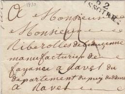 PUY-DE-DOME.  1820.   62/ISSOIRE POUR  MANUFACTURIER DE FAYENCE A RAVEL /  2 - Marcophilie (Lettres)