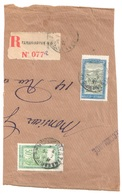 TANANARIVE Madagascar Fragment Lettre Recommandée Etiquette Transport En Filanzane Yv 158 109 30c Vert 2F Bleu Olive - Madagaskar (1889-1960)
