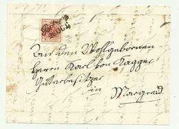 FRANCOBOLLO DA 3  KREUZER BOTZEN 1854 SU FRONTESPIZIO - 1850-1918 Impero
