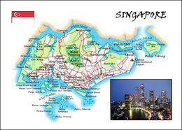 AK Singapur Landkarte Singapore Country Map New Postcard - Singapur