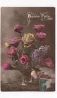 BONNE FETE - CORBEILLE DE ROSES  -  CARTE COULEUR   - VOYAGEE EN 1917 - Seasons & Holidays