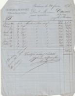 ***1876  BORDEAUX Commande  Facture Avec Timbre Fiscaux Traite Avec Timbre Fiscal - Huile D'oilve Ets SEURE Et BEAUFORT - Francia