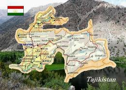 Tajikistan Country Map New Postcard Tadschikistan Landkarte AK - Tajikistan