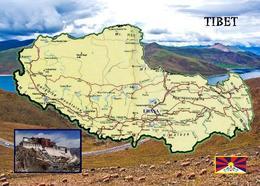 Tibet Map New Postcard Landkarte AK - Tibet