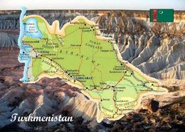 Turkmenistan Country Map New Postcard Landkarte AK - Turkménistan