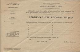 Ariège,certificat D'allaitement Au Sein,, Accouchement, Dame Visiteuse  Vers 1920 - Historical Documents