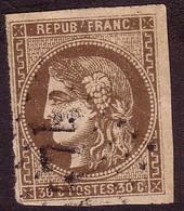 870 Type Cérès émission De Bordeaux 30c Brun Y&T N° 47 - 1870 Bordeaux Printing