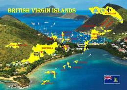 British Virgin Islands Map New Postcard Britische Jungferninseln Landkarte AK - Vierges (Iles), Britann.