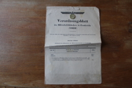 Verordnungsblatt  Journal Officiel Occupation Allemande  4 Decembre 1942 - Documents